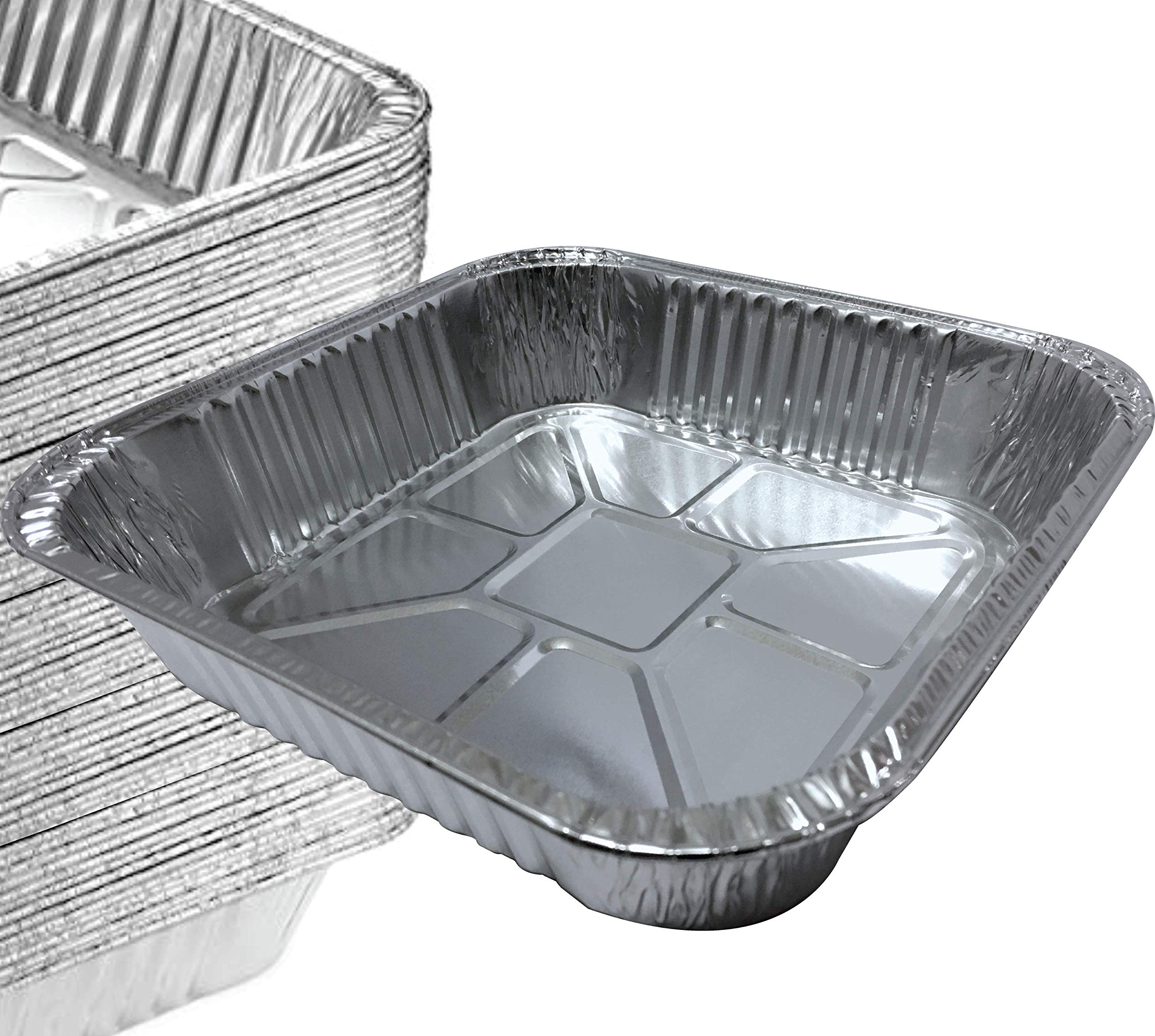 55 PACK - Top: 8''x8'' Bottom: 6.5'' x 6.5'' Square Pans I Deli Brownie Pan I Square Baking Pans I Cake Pans I Aluminum Brownie Pan I Square Foil Pans, Broiling & Cooking. Tasty Brownies & Cakes by Spare Essentials