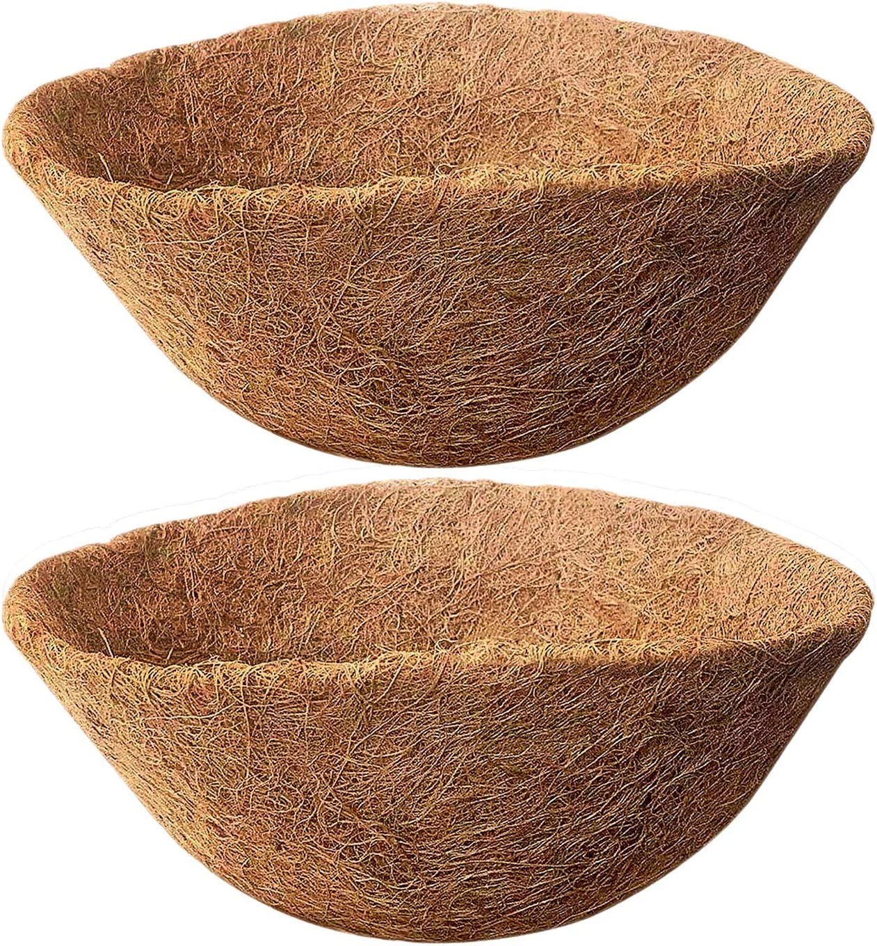HIMETSUYA 2PCS Round Coco Liners for Hanging Basket, 14 inch Coconut Fiber Planter Liners Coconut Fiber Liners for Wall Hanging Baskets, Garden Planter Flower Pot (14 in)