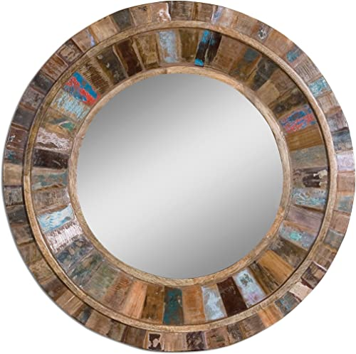 32 Reclaimed Wood Round Wall Mirror