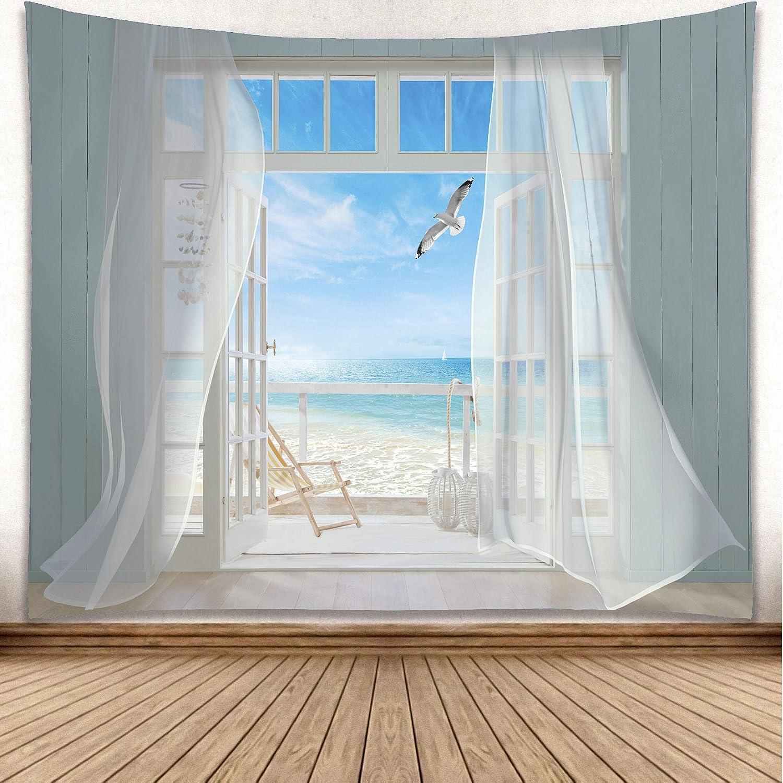 YISURE Tapestry Wall Hanging, Seagulls Screen Window Ocean Seaside Heaven Balcony Wall Art for Bathroom Bedroom Living Room Dorm Decoration, Large Size, 91x71 Inch