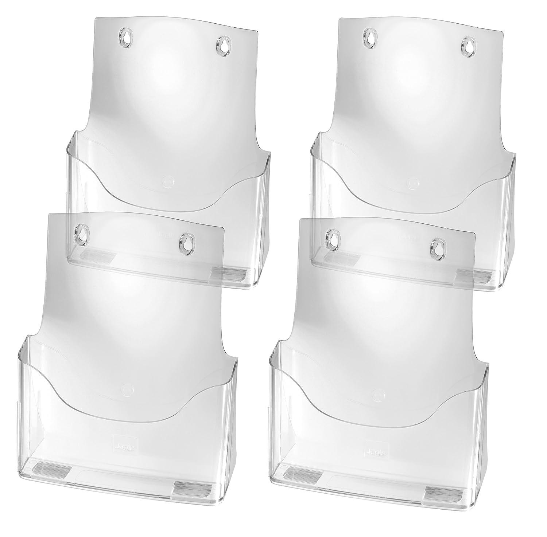 Sigel LH111 Porta-depliant da tavolo, in acrilico,con 1 tasca per A4 e 1 tasca per biglietti da visita, 4 pz. LH111/4