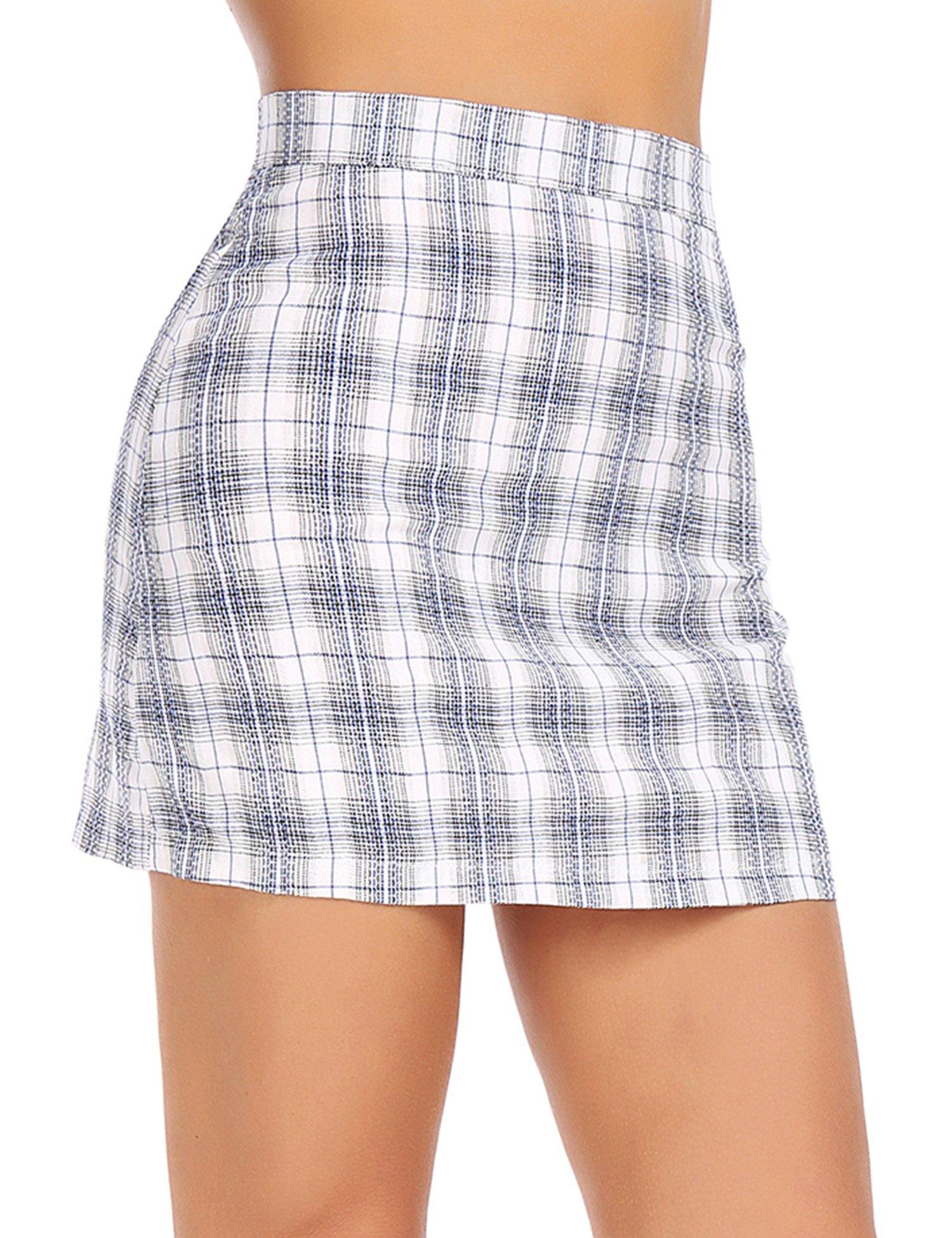 FISOUL Women's High Waist Bodycon Mini Skirt School Girl Plaid Uniform Skirt Black M