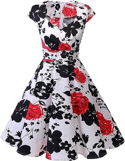 TALLA XL. Bbonlinedress Vestido Corto Mujer Retro Años 50 Vintage Escote En Pico Red Flower XL
