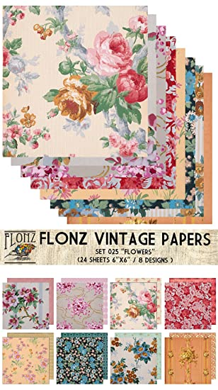 Flonz Paper Pack (24blatt 15x15cm) Flower Bouquet Vintage Muster ...