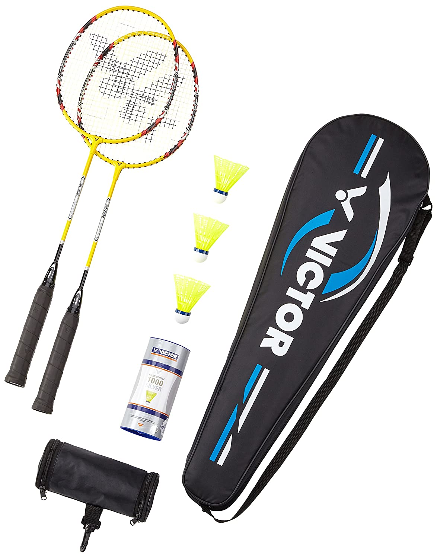 Victor Badminton Set, 2X AL-2200/Racketbag/3x Nylonball Badmintonschlä ger, Gelb/Silber/Rot, 67.5 cm VCTR5|#VICTOR 099/6/5