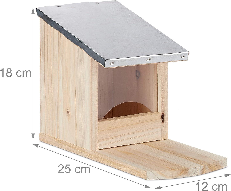 Weatherproof Metal Roof Squirrel Shack Wooden Feeding Station Flamed Standing Relaxdays Feeder Brown