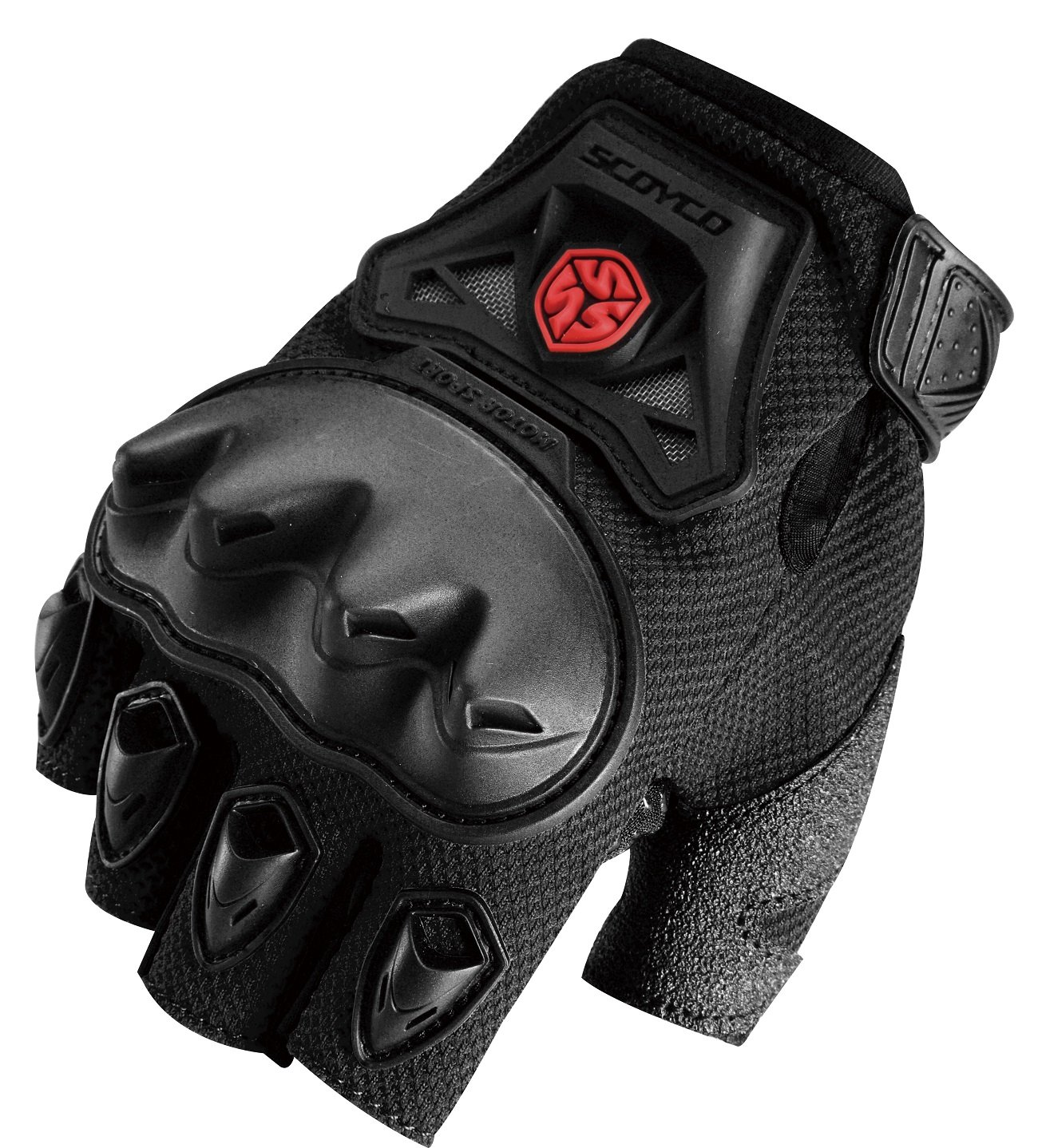 CRAZY AL'S SCOYCO MC29D Motorcycle Fingerless Gloves Sports Protective Gear Shock Resistant Padded Fingerless Safety Breathable Motorcycle Gloves (XL, Black)