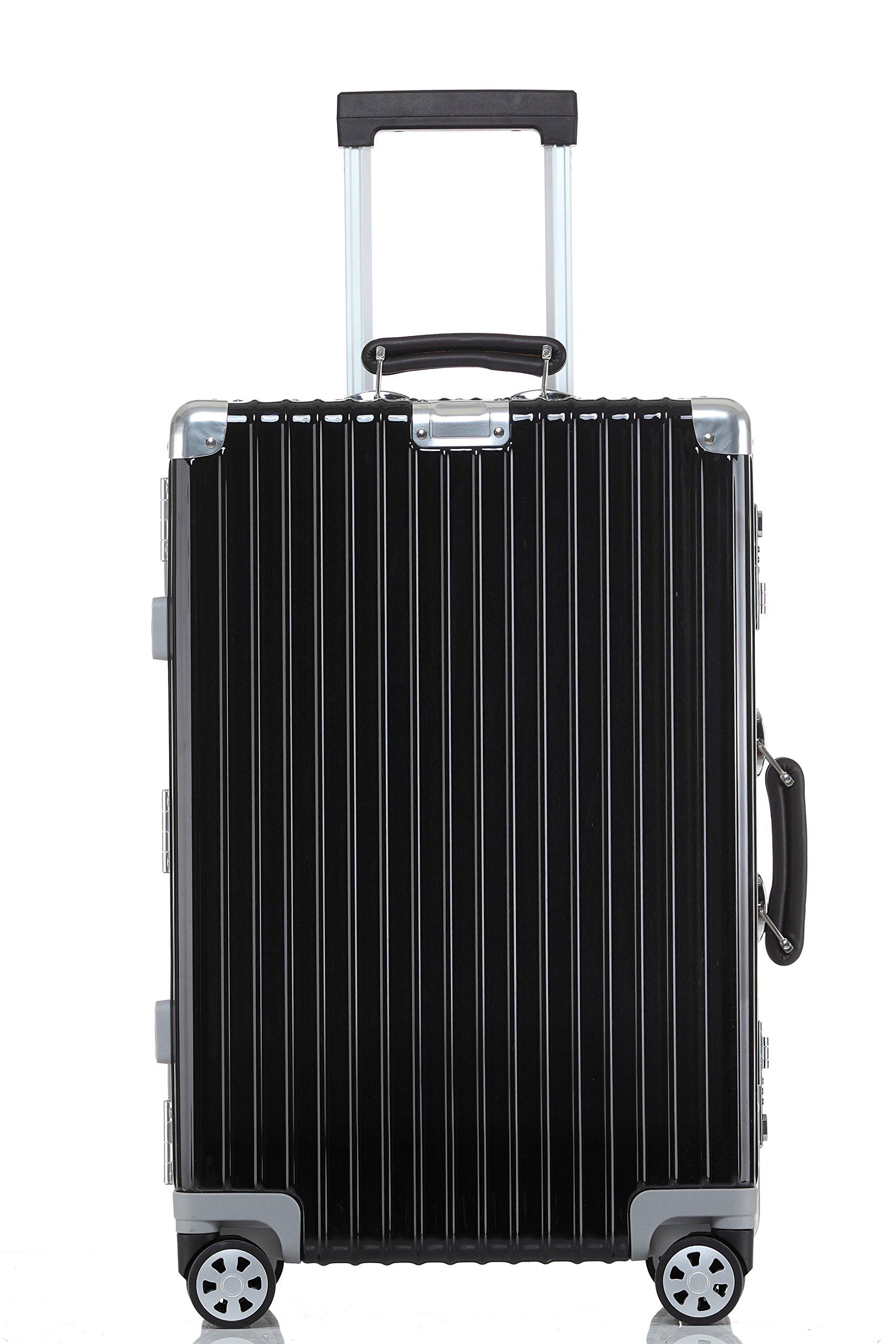 Lightweight Luggage, Clothink Aluminum Frame Spinner Modern Hardside Travel Suitcase 28 Inch, Black