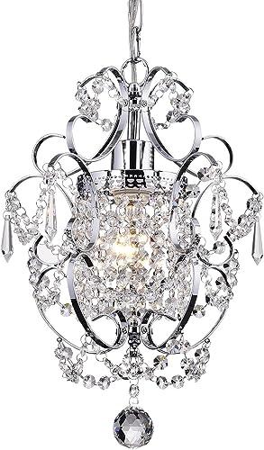 Edvivi Amorette 1-Light Chrome Finish Mini Pendant Chandelier Wrought Iron Ceiling Light Fixture   Glam Lighting