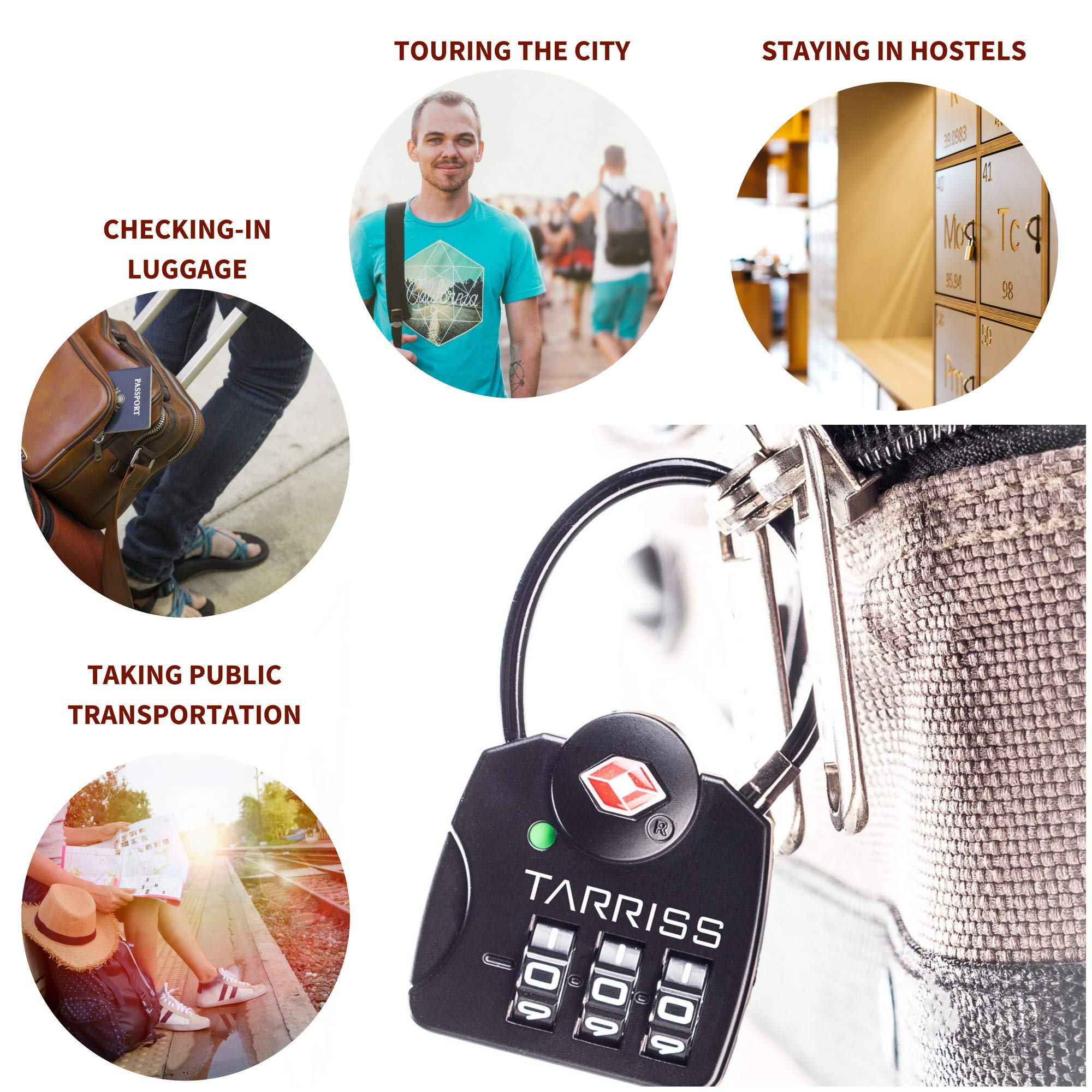 Tarriss TSA Lock with SearchAlert (2 Pack) (Midnight Black) by Tarriss (Image #5)