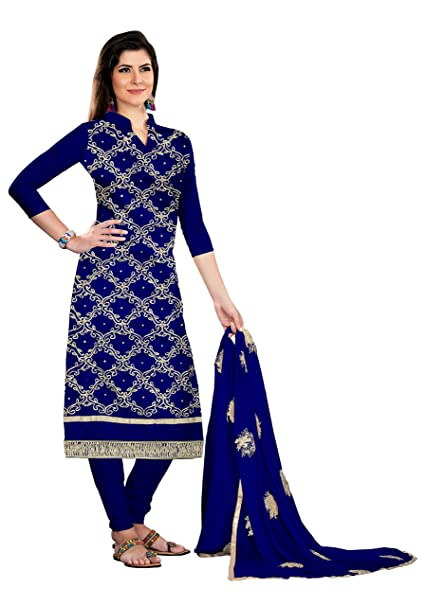 bb51b930e0 Kimisha Women's Chander Gota Patti Salwar Suit Material with Stone Work  (KMDNSTHA2714, Navy Blue, Free Size): Amazon.in: Clothing & Accessories
