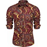 Modfine Mens Floral Shirt Long Sleeve Paisley Funky Printed Linen Casual Shirt