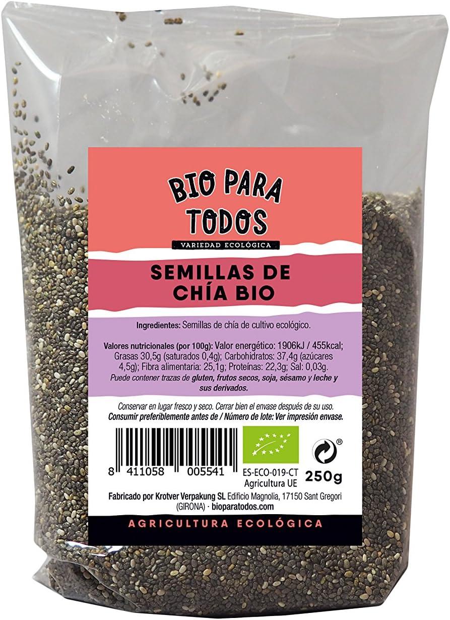 Bio para todos Semillas de Chía - 4 Paquetes de 250 gr - Total: 1000 gr: Amazon.es: Alimentación y bebidas