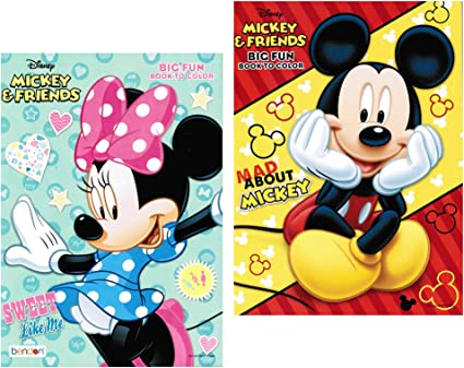 Amazon.com: Disney Mickey And Minnie Mouse Coloring Book Set With Tear And  Share Pages: Toys & Games