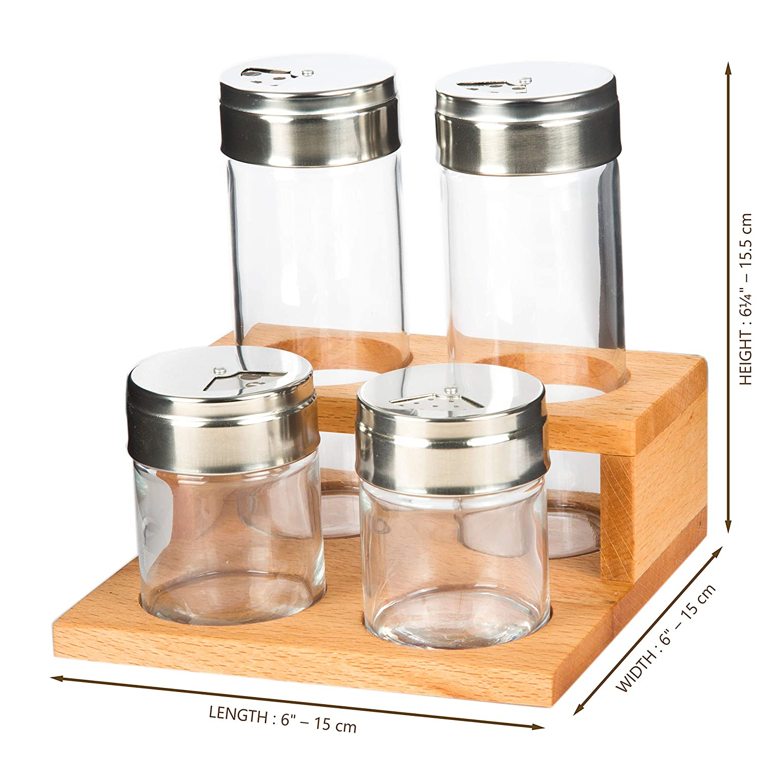 Set of 6 Herb Dispanser Home The Mammoth Design Kitchen Table Countertop Utensil 6 Glass Jars with Metal Lids Professional Wooden Spice Organizer