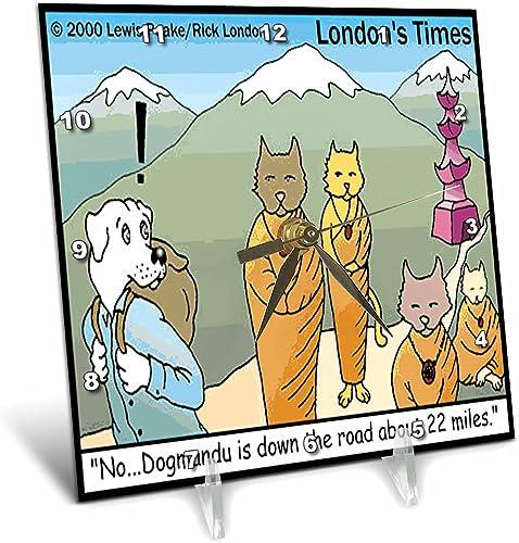 3dRose Londons Times Funny Dogs Cartoons – Dogmandu, Very Near Katmandu – 6×6 Desk Clock dc_1480_1