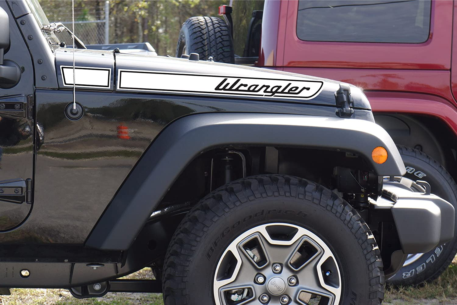 The Pixel Hut gs00141 Gloss White 2007-2018 single color Wrangler Retro Hood Decals for Jeep Wrangler JK