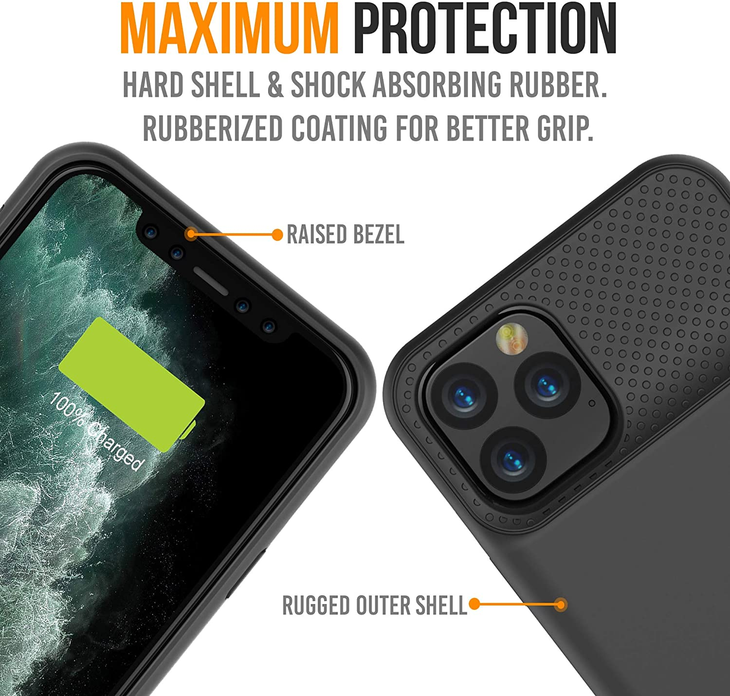 BX11 Pro Max - Battery Case for iPhone 11 Pro Max 6.5 inch 5000mAh Slim Portable Protective Extended Charger Cover with Qi Wireless Charging Compatible with Lightning Audio Black