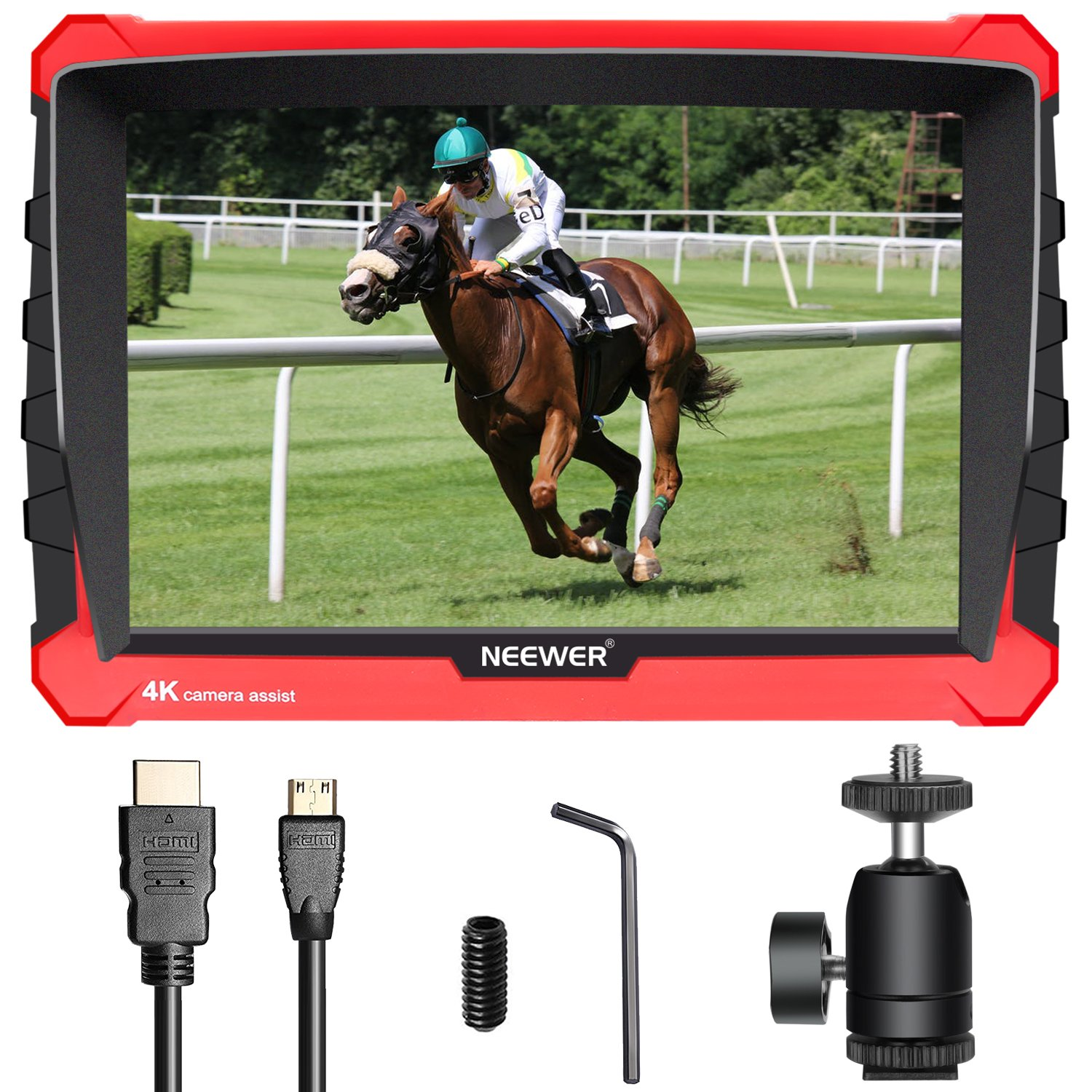 Neewer NW-A7S Camera Field Monitor with Silicone Case: 7-inch 4K 1920x1200 IPS Screen, HDMI Input/Output 16:10 or 4:3 Adjustable Display Ratio for Sony Canon Nikon Olympus (Battery Not Included) 10091303