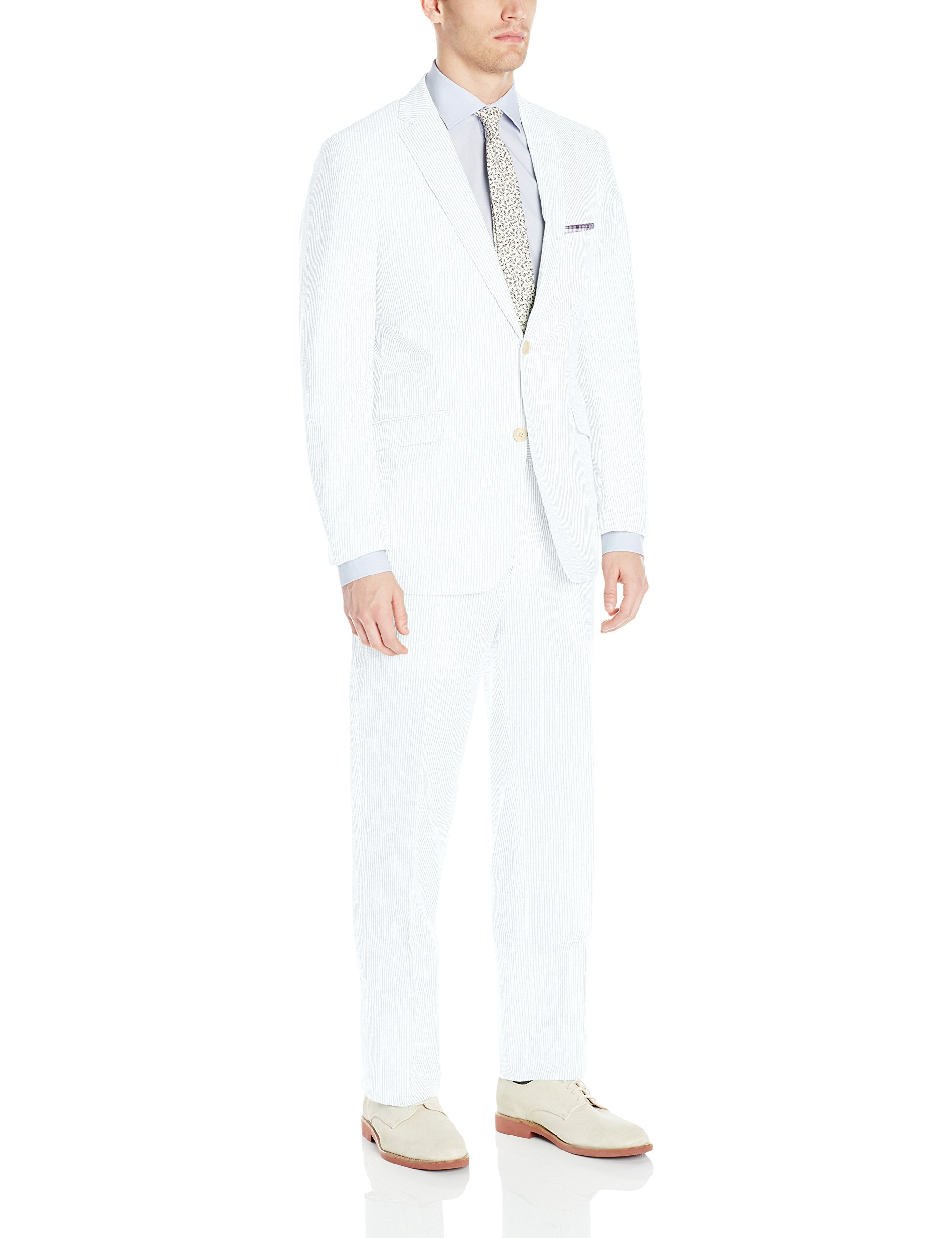 U.S. Polo Assn. Men's Seersucker Nested Suit, White, 44 Regular