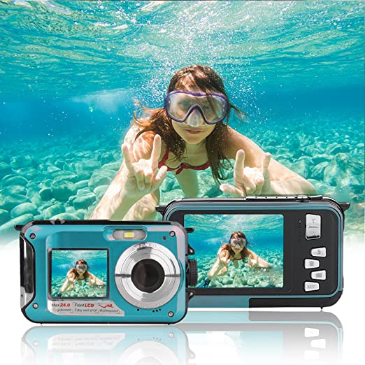 Review Waterproof Point and Shoot Digital Cameras,24MP 1080P Dual Screen Underwater Sports Action Video Recorder Cameras-Blue