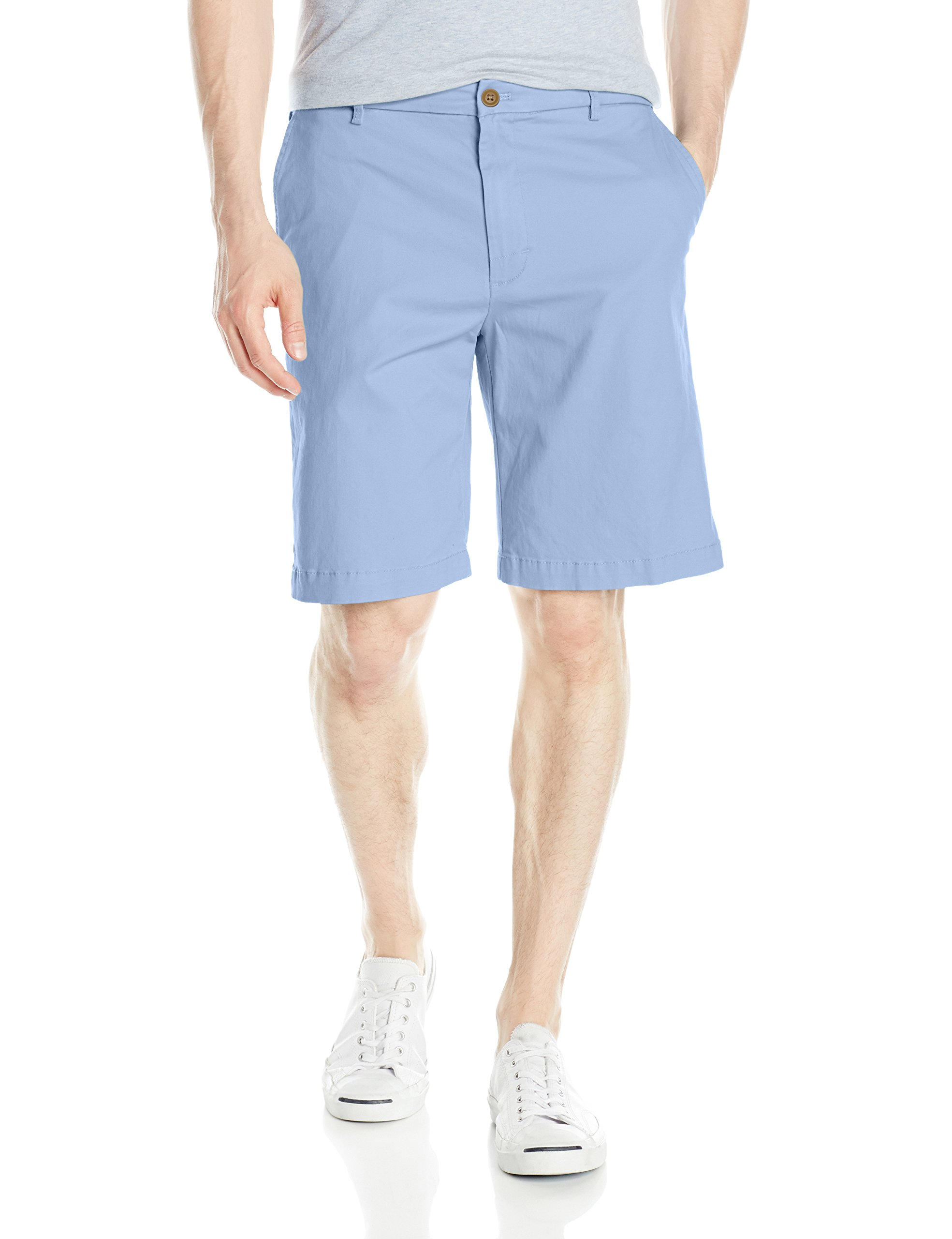 IZOD Men's Saltwater Flat Front Short, Powder Blue, 40W