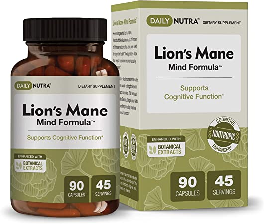 Lion's Mane Mind Formula by DailyNutra - Nootropic Supplement for Cognitive Health | Organic Mushroom Extract with Bacopa, Gingko, Gota Kola, and Huperzine-A (90 Capsules)