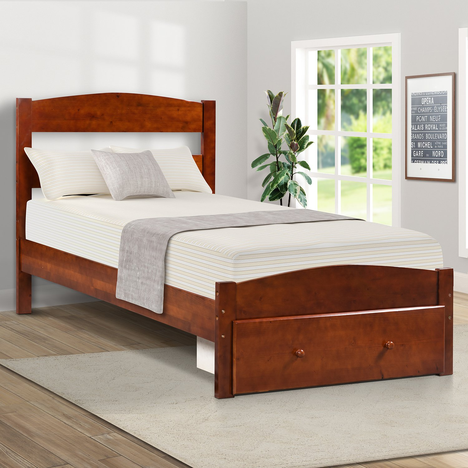 Merax Wood Platform Bed Frame with Storage and Headboard, Wooden Bed Frame, Twin Walnut