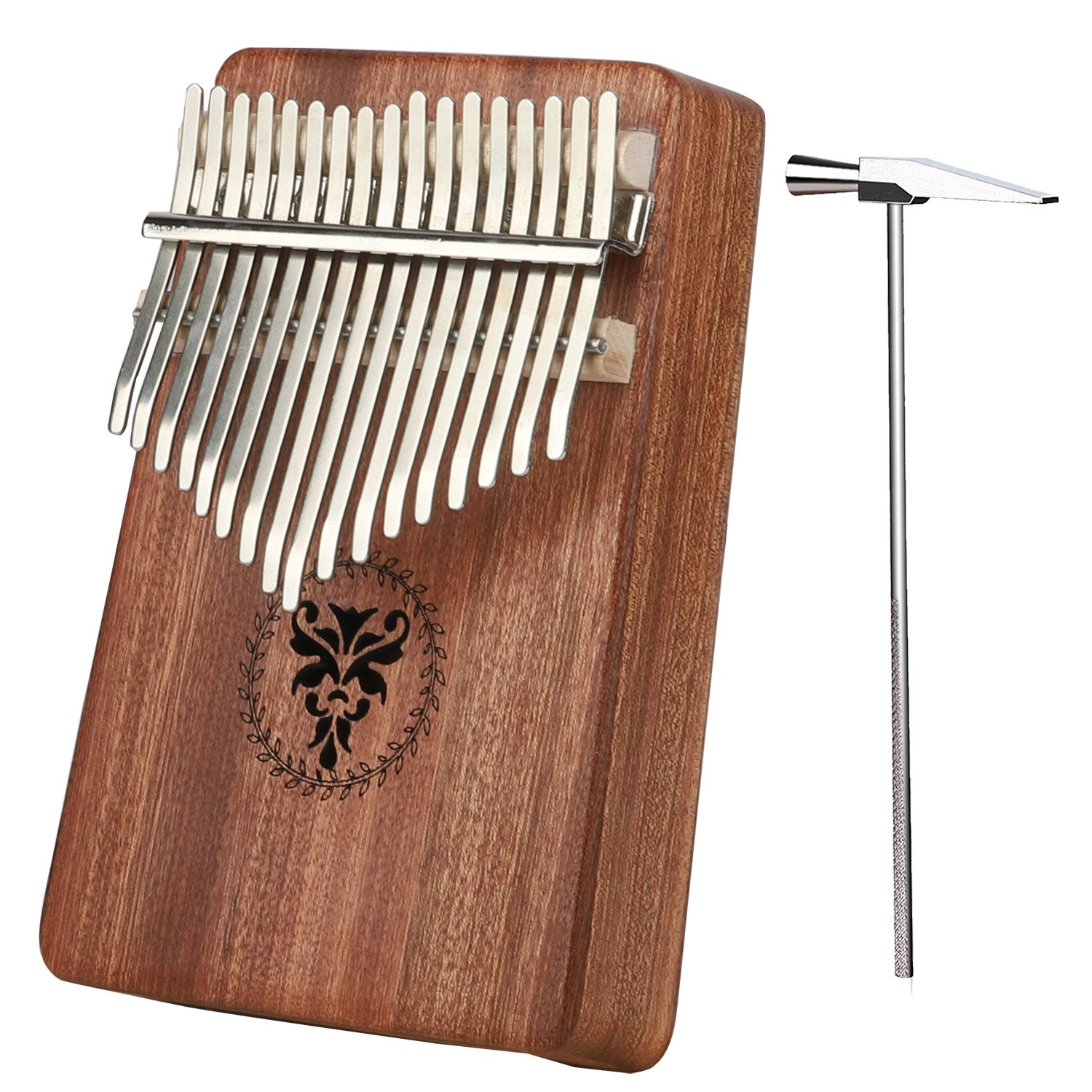 Kalimba Thumb Pianos 17 keys African Mahogany Solid Body with Tutorial, Tune Hammer and Portable Bag, Easy to Learn