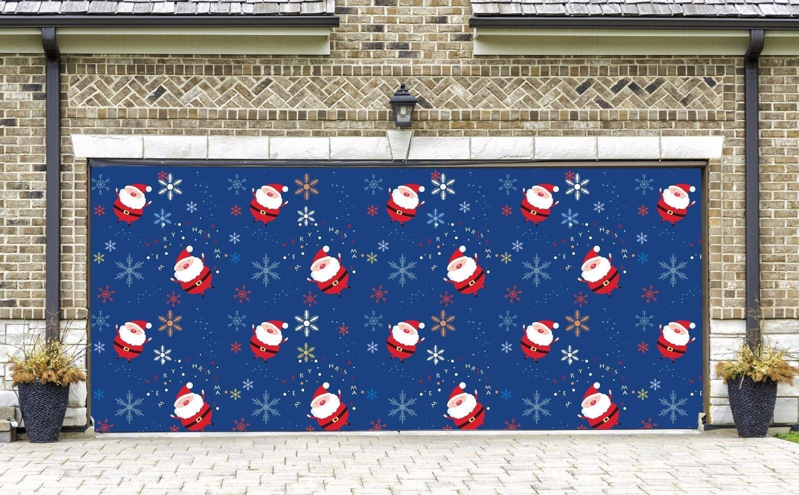 Christmas Santa Billboard for 2 Car Garage Door Outdoor Holiday Full Color 3D Print Garage Door Covers Banners Merry Christmas Decorations House Art Murals size 82x188 inches DAV38