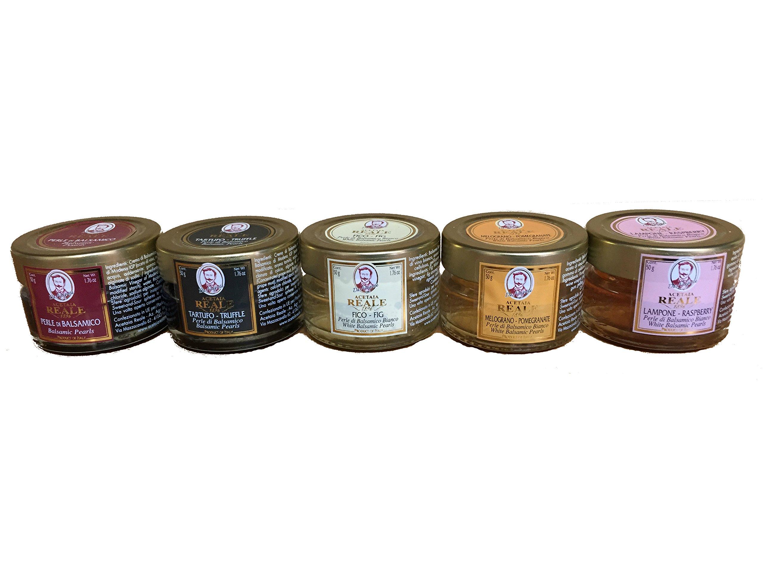Acetaia Reale - Balsamic Vinegar Pearls Gift Set - 5x50g (Truffle, Fig, Pomegranate, Raspberry)