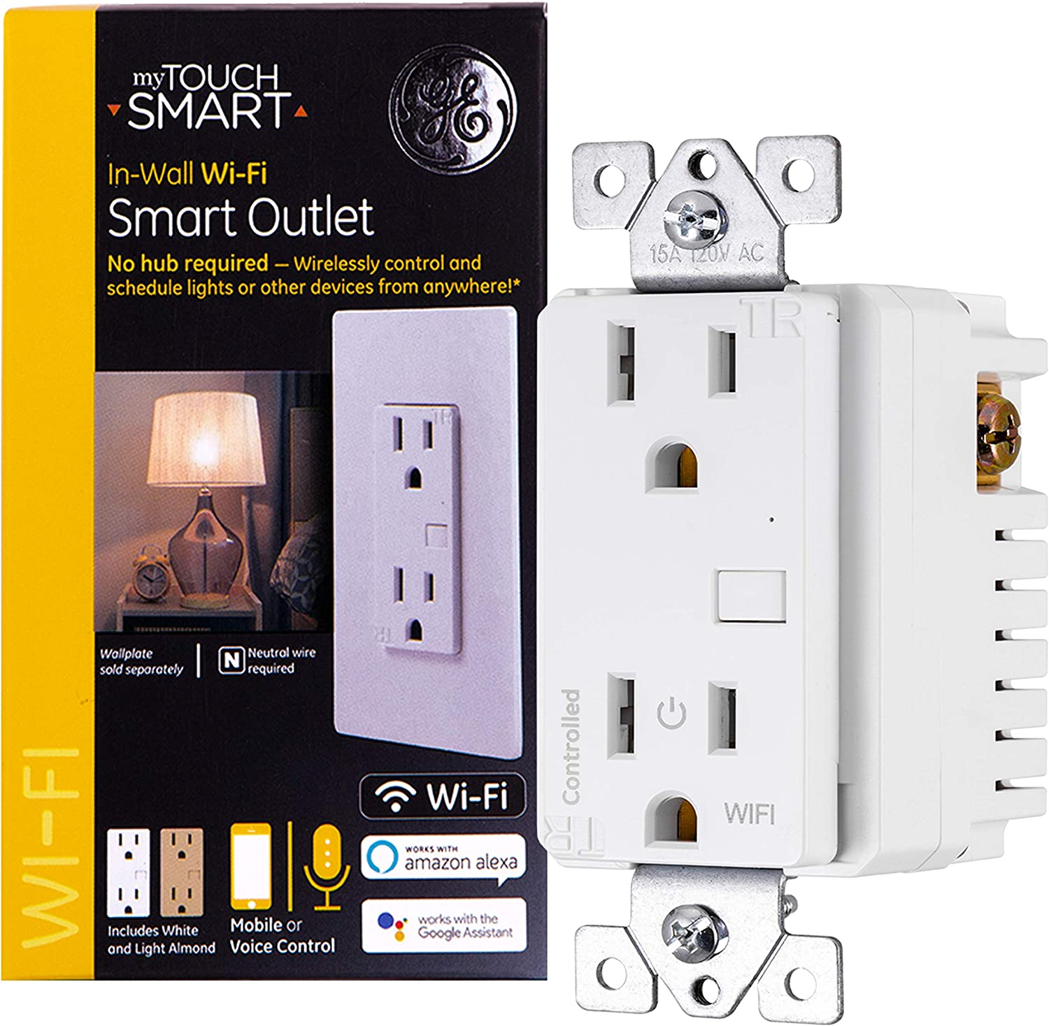 GE myTouchSmart WiFi Smart Light Outlet Receptacle, Tamper-Resistant, Works with Alexa, Google Assistant, 2.4GHz, No Hub Needed, Neutral Wire Required, White & Light Almond, 40795