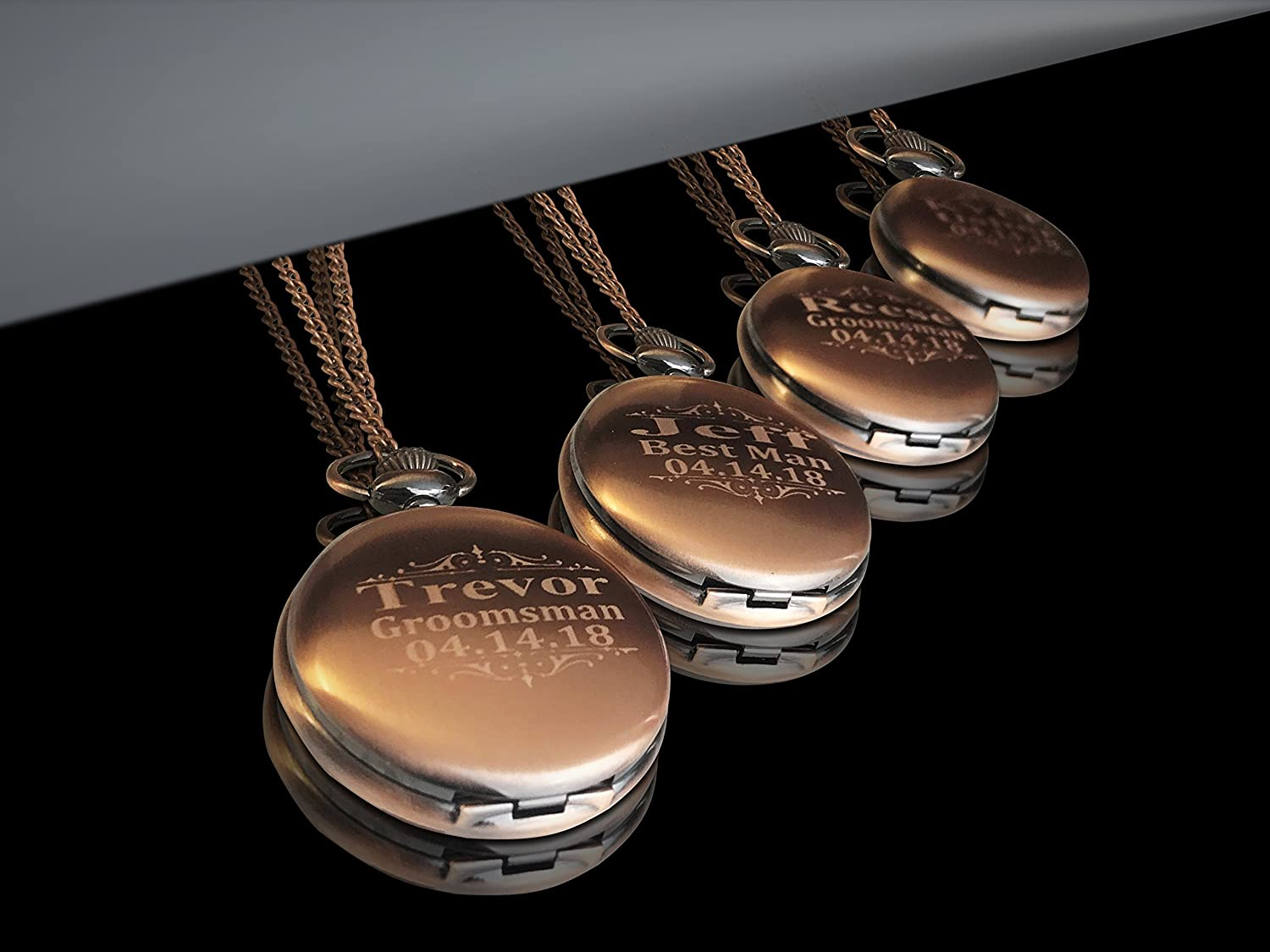ffba27932 Amazon.com: Groomsmen pocket watch set of 4, Rose gold watch set, Box  included, chain and engraving is included, Unique Wedding gift set.:  Handmade