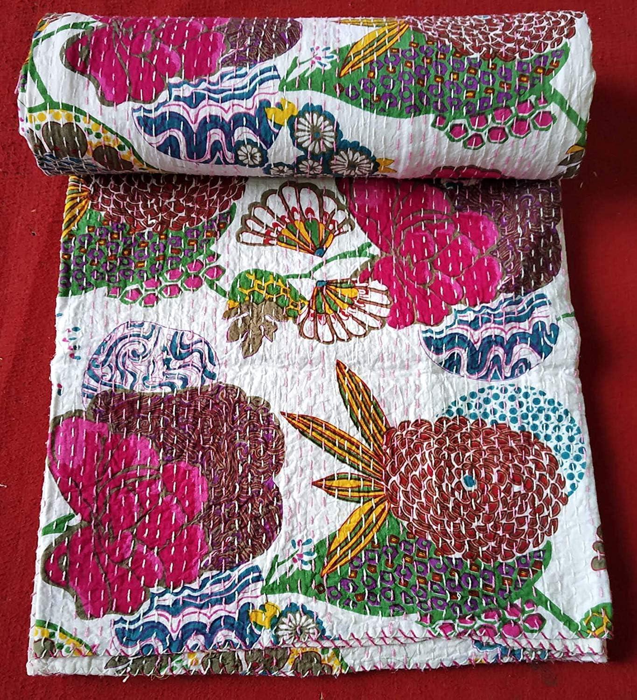 Handicraft Handloom Handmade Indian Patch Work Cotton Kantha Quilt Throw Blanket Bedspread Boho Traditional Quilt Twin Size