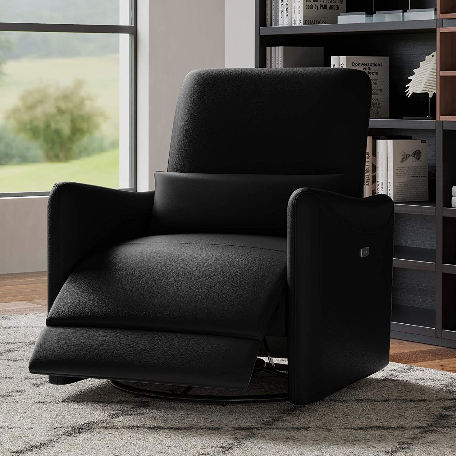 CHITA Power Recliner Swivel Glider,Upholstered Faux Leather Living Room Reclining Sofa Chair with Lumbar Support, Black
