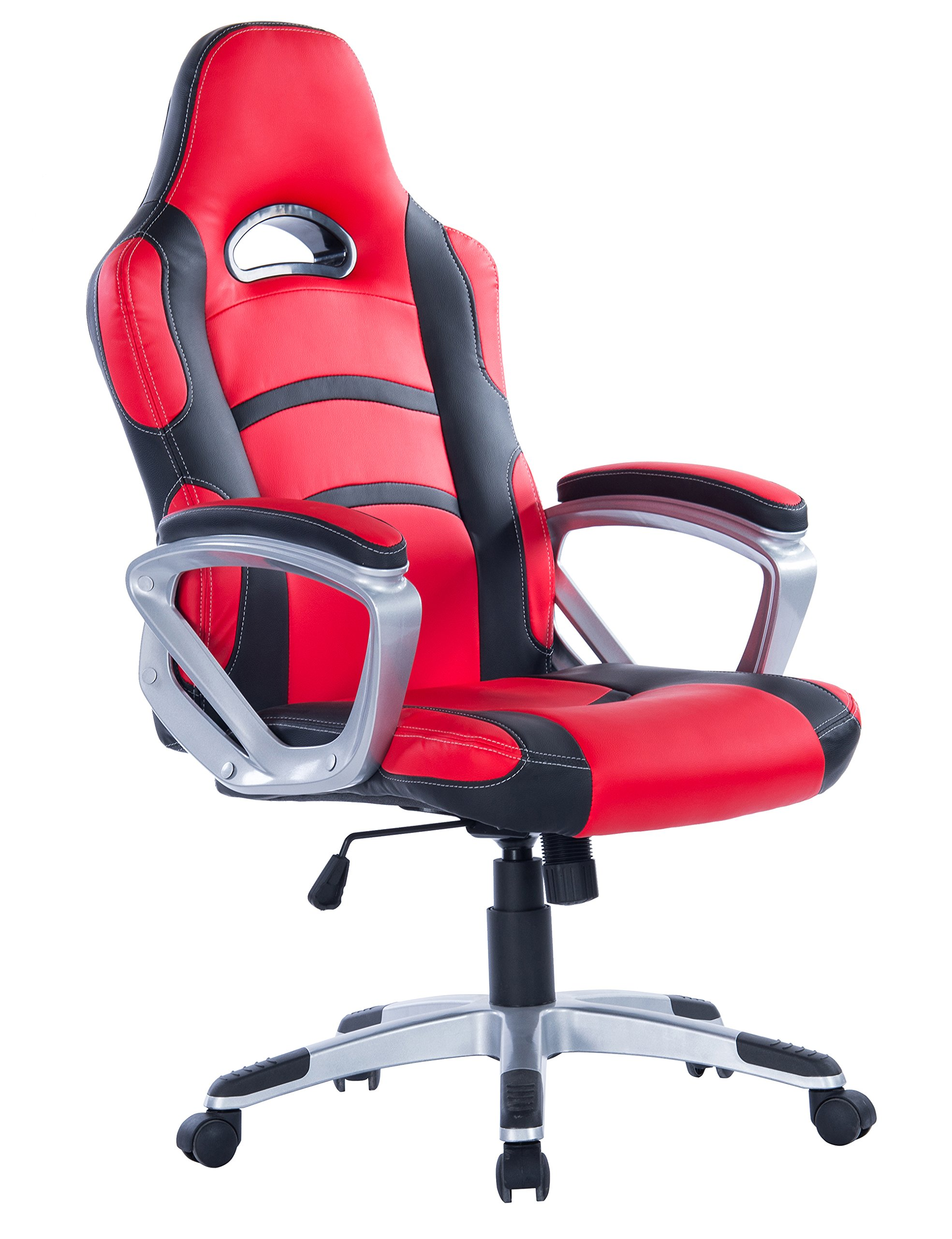 Killbee Large Ergonomic Gaming Chair  High Back Swivel  Executive Office Chair Height Adjustable PU Leather Bucket Seat Task Chair (Red)