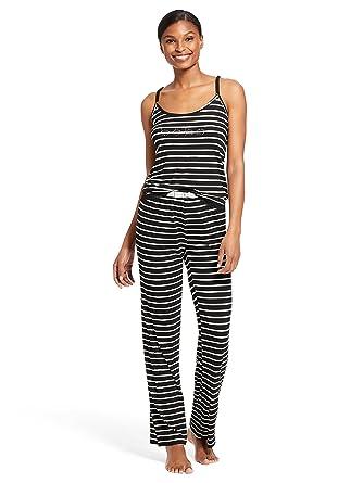 fe9e7d8b9a2a bebe Womens 2 Piece Sleeveless V-Neck Striped Top Pants Pajama Lounge Set  Black Small