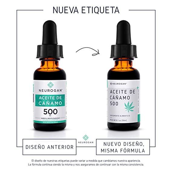 Neurogan Semillas de Cáñamo 30 ml, 500 MG, Aceite Vegetal 100% Puro,