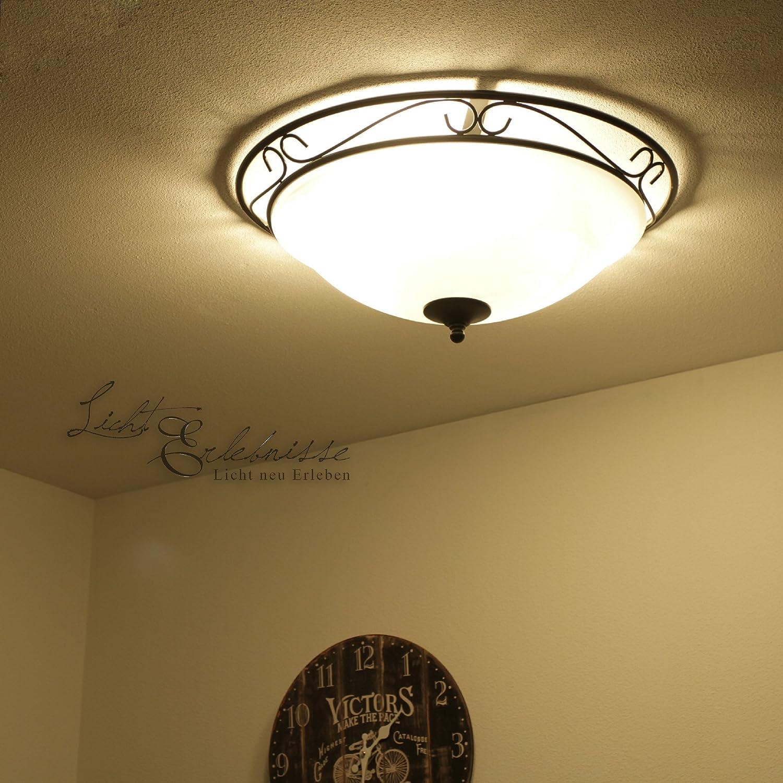 Große Deckenleuchte in schwarz/weiß inkl. 3x 12W E27 LED 230V Deckenlampe aus Metall Glas & Satiniertes Glas für Wohnzimmer Schlafzimmer Flur Lampe Leuchten innen