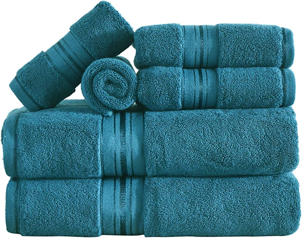 100% Cotton Jade Bath Towel Set, 6 Pieces Soft Absorbent Quick-Dry Towel Sets for Bathroom and Hotel, 2 Bath Towels, 2 Hand Towels & 2 Washcloths
