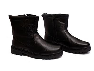 Image Unavailable. Image not available for. Color  Toe Warmers Nick Mens  Black Leather Warm Lined Winter Snow Boots 9fbfdc885410
