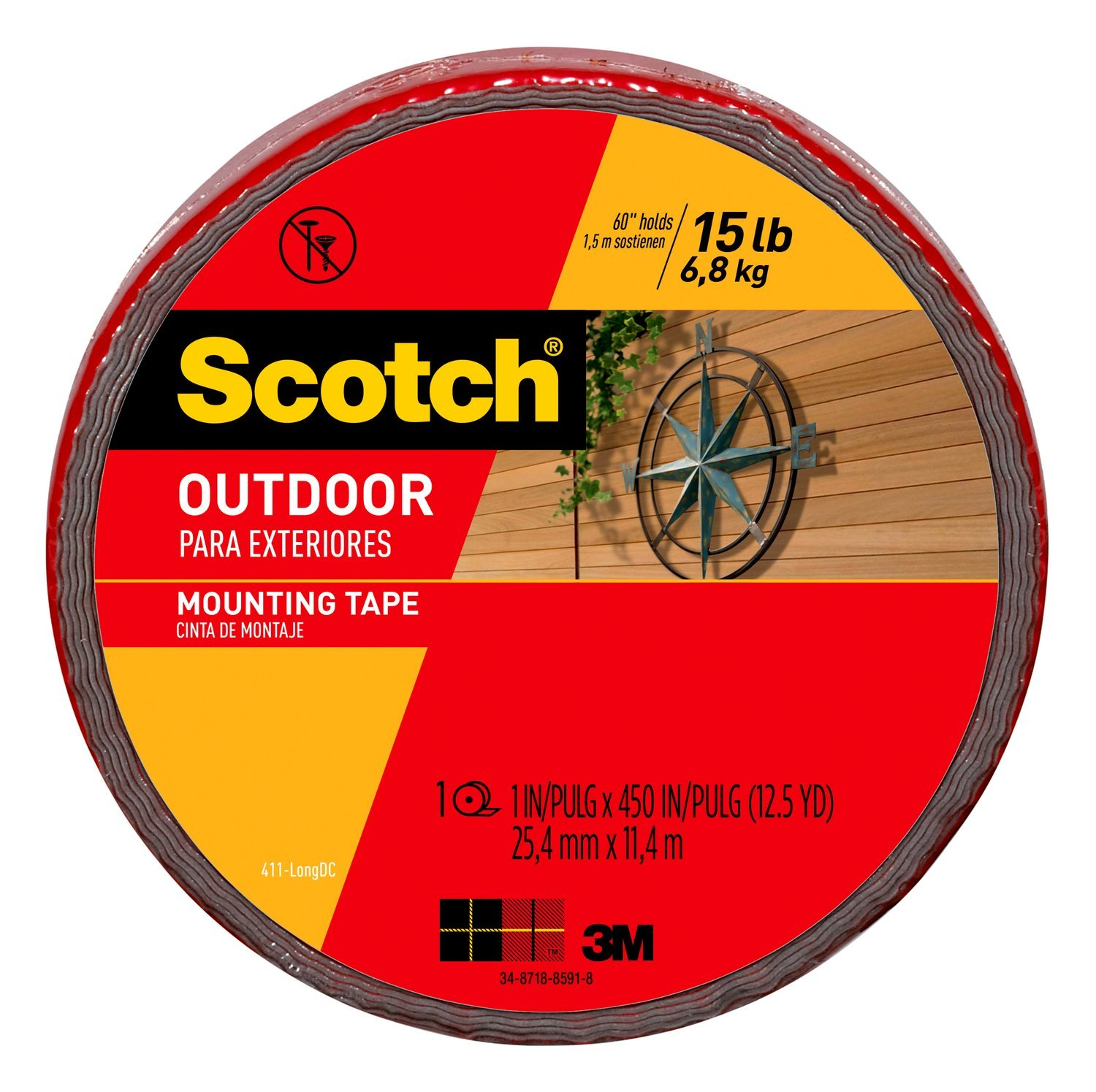 Scotch Outdoor Mounting Tape, 1-inch x 450-inches, Gray, 1-Roll (411-LONG)