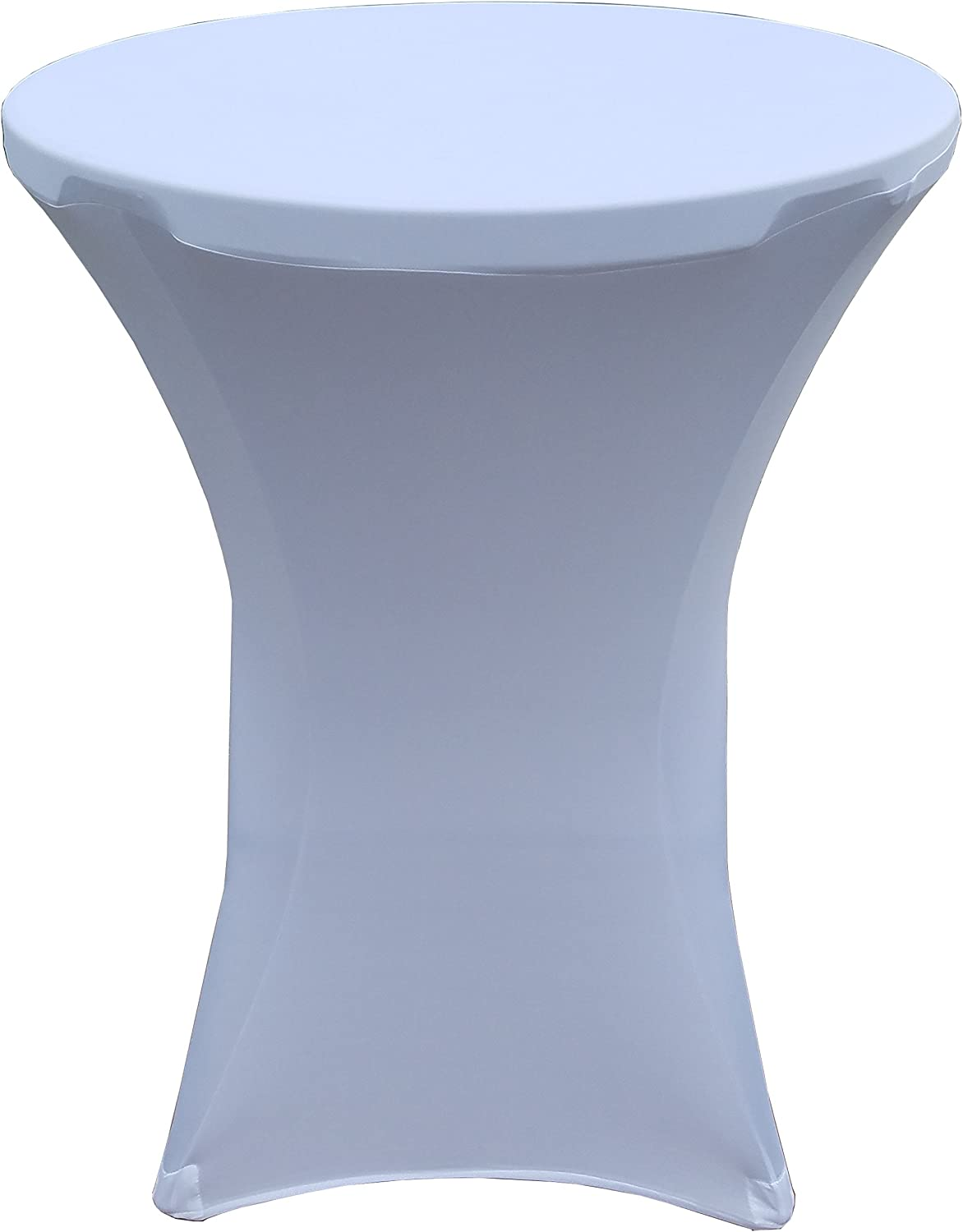 32 Round x 43 Tall Spandex Fitted Table Cover for Folding Bar Height Tables White