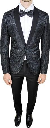 Vestiti Eleganti Uomo.Abito Completo Uomo Sartoriale Nero Tessuto Raso Damasco