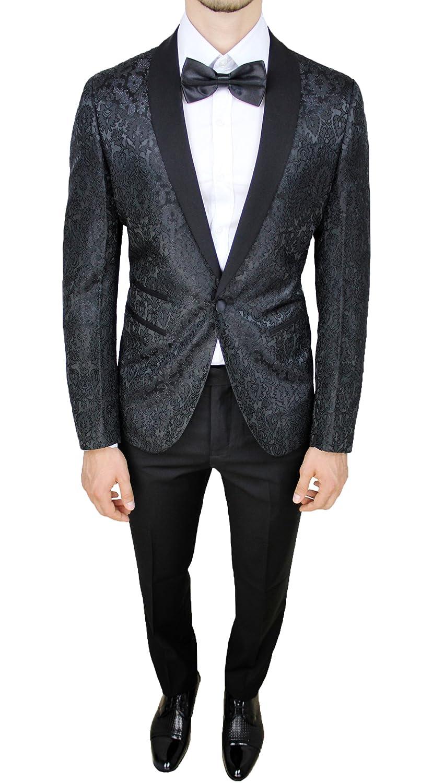 Abito completo uomo sartoriale nero tessuto raso damasco floreale slim fit vestito smoking elegante