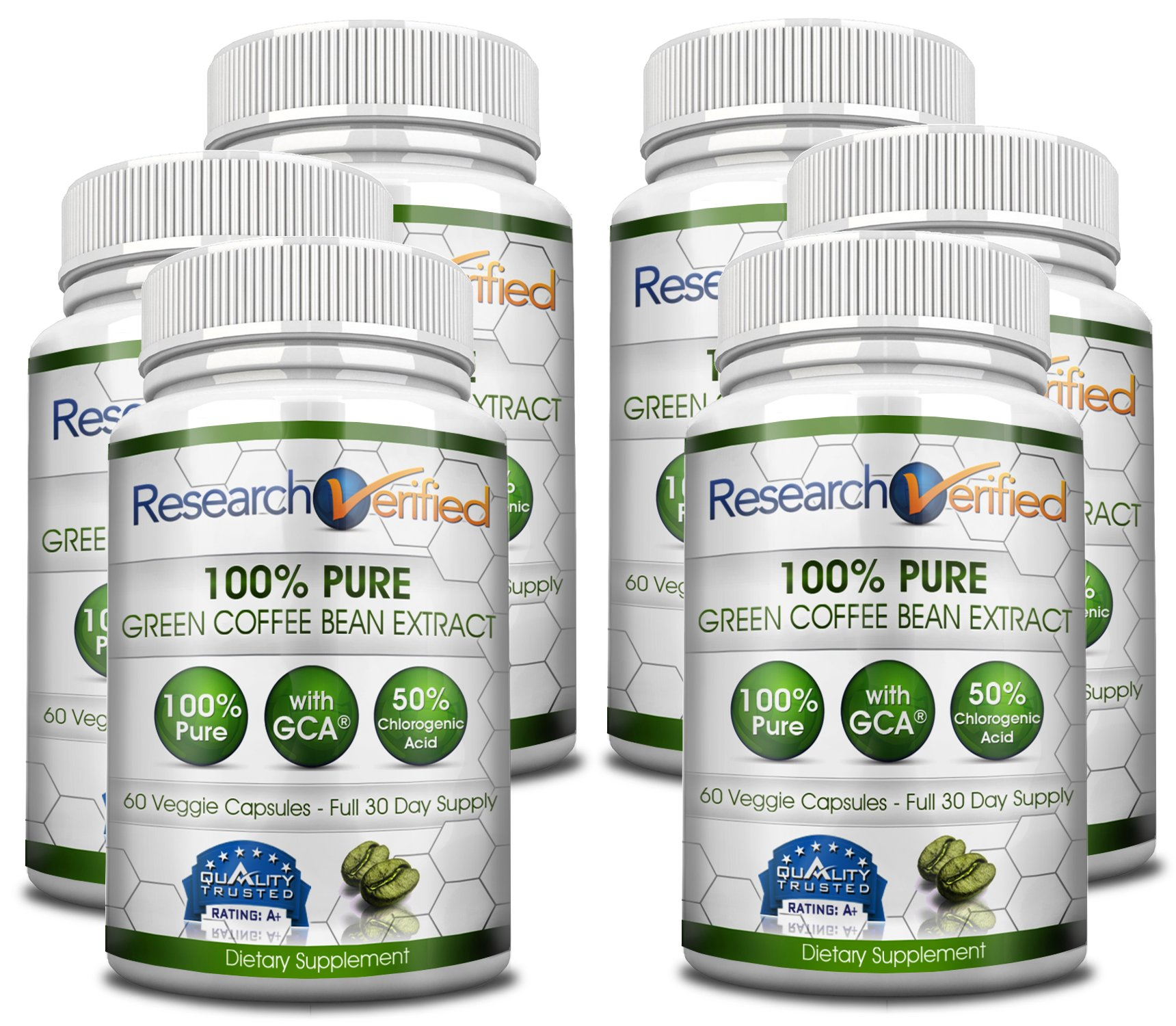 Green Coffee Bean Extract - Six Month Supply - 100% Pure by Research Verified - 50% Chlorogenic Acid - 365 Day 100% Money Back Guarantee - Try Risk Free for Fast and Easy Weight Loss