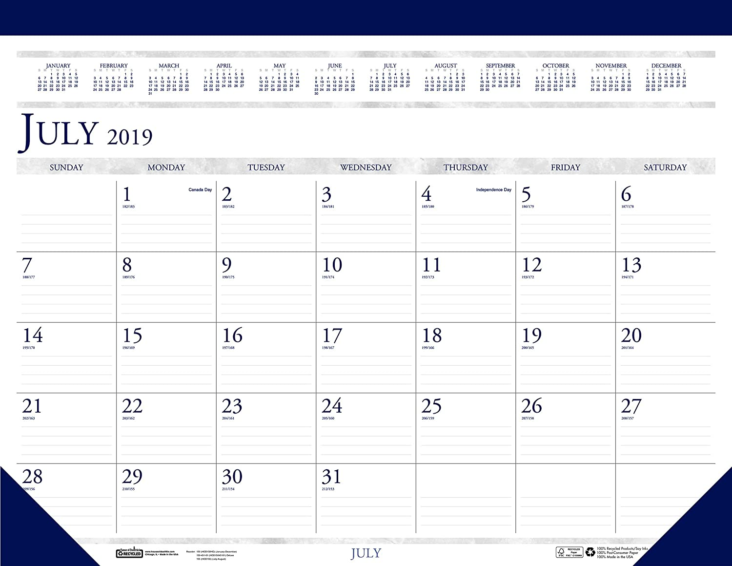 House of Doolittle 2019-2020 Monthly Desk Pad Calendar, Academic, Classic, 22 x 17 Inches, July - August (HOD155-20)