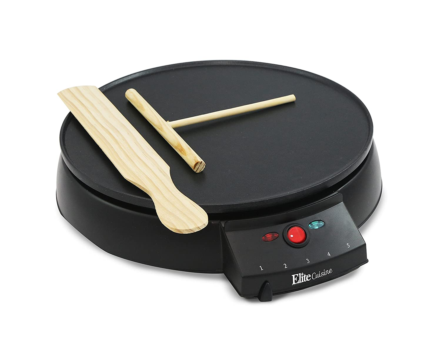 "Elite Cuisine ECP-126 Electric Crepe Maker and Non-stick Griddle with Spreader, Spatula and Recipes, 12"", Black"