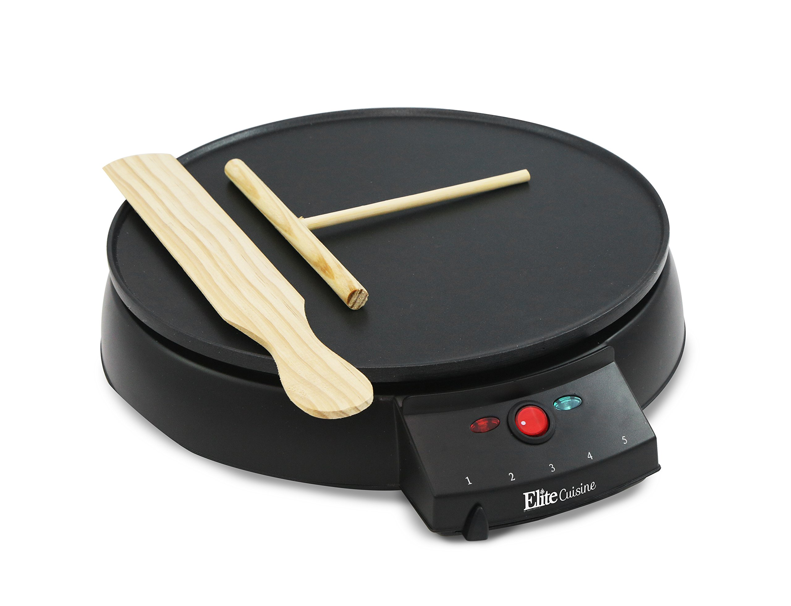 Elite Cuisine ECP-126 Electric Crepe Maker and Non-stick Griddle with Spreader, Spatula and Recipes, 12'', Black