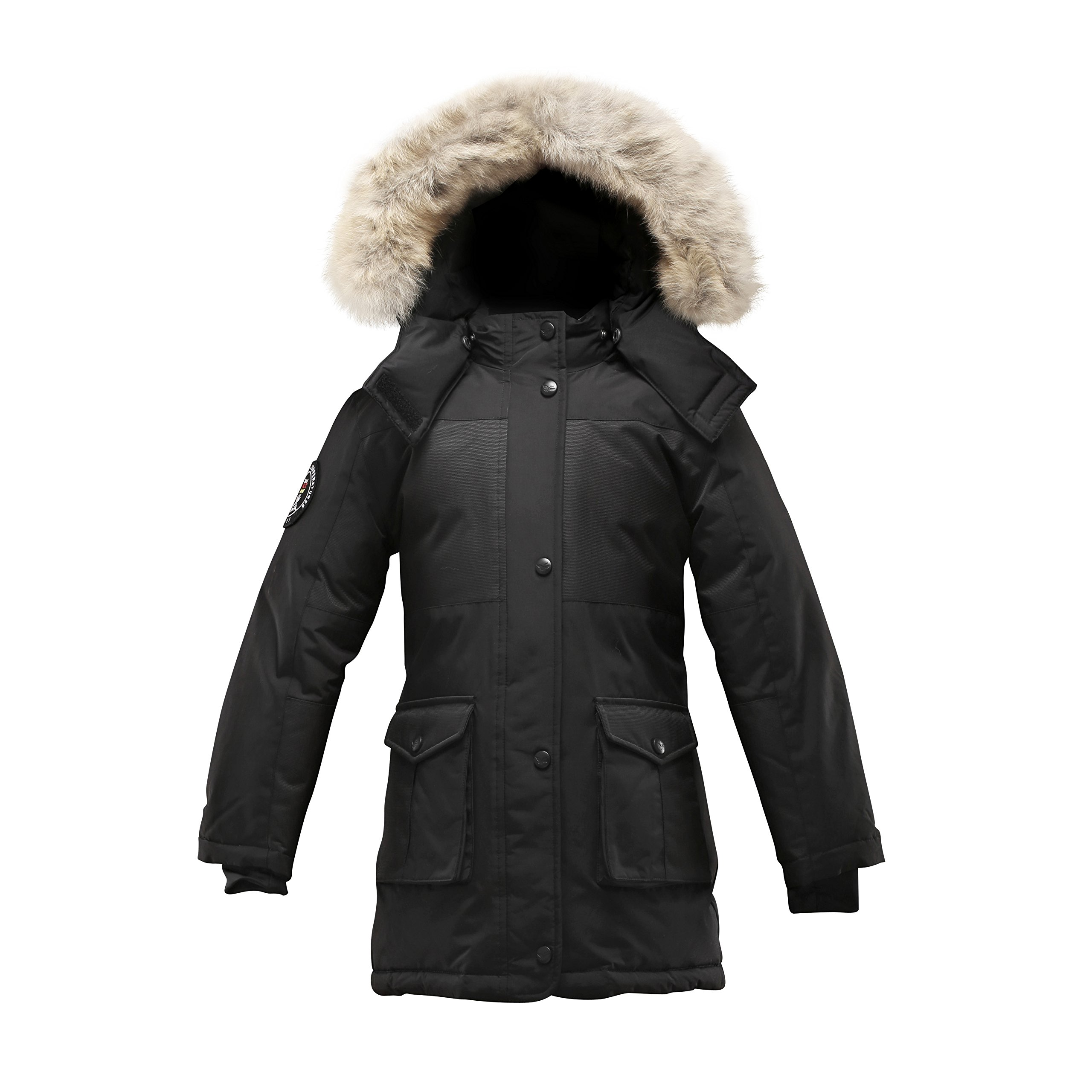 Triple F.A.T. Goose Madigan Girls Hooded Down Jacket Parka with Real Coyote Fur (6, Black)